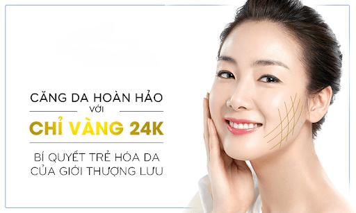 Phương phap căng da mặt bằng chỉ vàng 24k