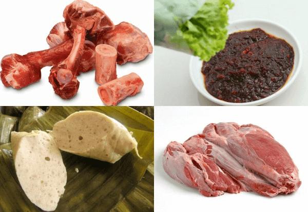 Nguyên liệu làm món bún bò Huế